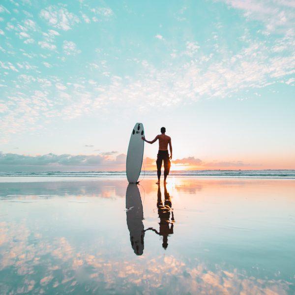 Surfer, Sunset, Clouds, Longnecker
