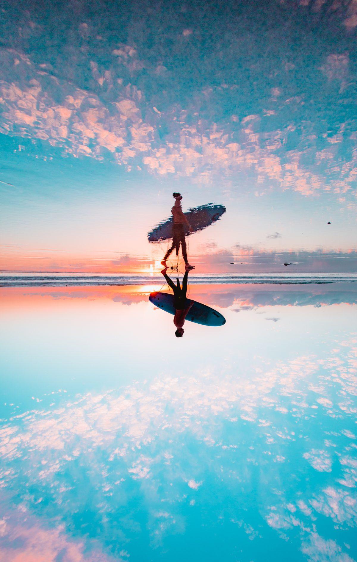 Surfer, Reflection, Ocean, Longnecker