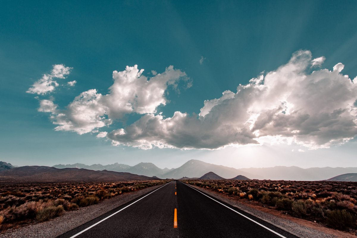 Mountains, Roads, Sierra Nevada, Clouds